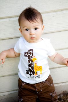 Personalized Giraffe Birthday Party Number T Shirt or Bodysuit Giraffe Birthday Parties, Jungle Theme Birthday, Safari Birthday Party, Animal Birthday, Birthday Ideas, Birthday Boy Shirts, Baby Boy Birthday, Safari Party, Jungle Party