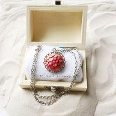 Pearl Pink Copper Mermaid Scale Necklace, Mermaid Necklace, Mermaid Jewelry…