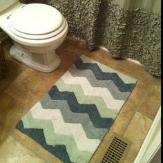 New Chevron Bathroom Rug, T. Maxx, so cute! New Chevron Bathroom Rug, T. Maxx, so Chevron Bathroom, Blue Bathroom Rugs, Bathroom Rugs And Mats, Bath Rugs, Rug Placement, Farmhouse, Master Bath, Bathroom Ideas, Grey Chevron