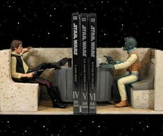 Han Shot First Bookends  Commemorate the original version of the Star Wars film like a true fan with the Han shot first bookends. These expertly crafted bookends depict the iconic showdown between Han and Greedo at Mos Eisley wherein Han shoots Greedo before he fires off a shot.  $215.00  Check It Out  Awesome Sht You Can Buy