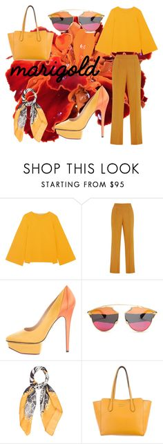 """""""Stay Golden: Dressing in Marigold - Contest"""" by jessica-riri ❤ liked on Polyvore featuring STELLA McCARTNEY, Rosie Assoulin, Charlotte Olympia, Christian Dior, Salvatore Ferragamo, Gucci, contest and marigold"""