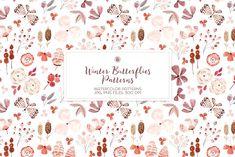 Watercolor Pattern, Floral Watercolor, Owl Wreaths, Nursery Patterns, Wedding Wreaths, Butterfly Pattern, Etsy App, Craft Items, Digital Pattern