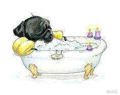 Pug in a Tub 5x7 Black Pug Art Print Art for Bathroom by InkPug