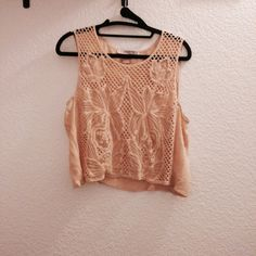 Floral crop top Peachy pink rayon crop top. So adorable. NWOT! Tops Crop Tops