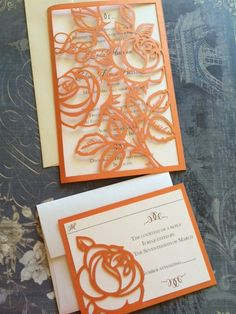 Custom Listing for Erica Red Roses Wedding Invitations Custom