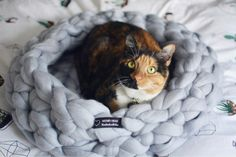 Cat/dog bed, chunky knit pet bedding.   HandMade 100% merino wool cat bed will be a favorite place for your cat. The bed is very soft, warm and inviting. Your kitty/doggy will love Woolly Cloud bed at first touch. Diameter Size on the picture: 22 inches (for medium size cat/small dog) Color:seal  Measurements may change within a few inches due to the natural movement of the yarn. Dry clean or gentle hand wash with soap. Shipping within 1-3 days from NYC, USA.  Show your love to...