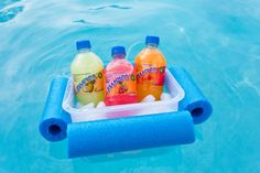 DIY Floating Cooler: when you're relaxing in the pool, you want to make sure that your favorite drinks are nearby. That's where this DIY Floating Cooler comes in!