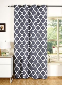 Printed Blackout Curtains-1 Panel,52 Inches Wide By 84 Inches Long,Room Darkening Curtains And Drapes For Bedroom Living Room Window,Thermal Insulated Grommet Top Grey White Moroccan Pattern >>> You can get more details by clicking on the image. (This is an affiliate link) #WindowTreatments