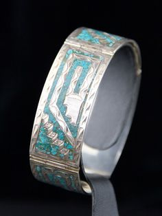 Vintage Mexican Sterling Silver 925 Inlaid Turquoise Mid Century Bracelet Mexico by cocoandbenny on Etsy
