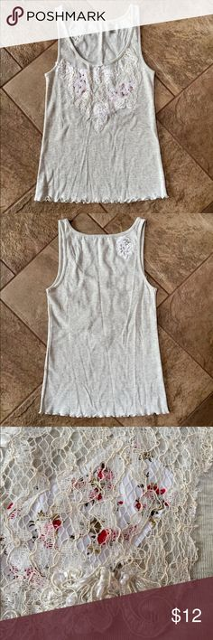 LIN Q Lace Tank Top NWOT!!!! Heathered tan color with lace & pearl detail on the front & back, ruffled waist. Lin Q Tops Tank Tops