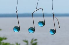 Three Glass Musical Notes Turquoise and Copper Ornaments