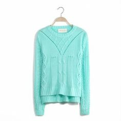 Green pullovers batwing sleeve long sleeve o-neck casual regular Vintage Sweaters