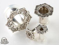 BodyArtForms.com | Sterling Silver Lotus single flare eyelets $51.95-99.95/pair