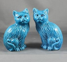 Set of Two Turquoise Blue Glazed Vintage Cat Figurines from China