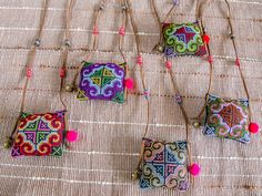 Hmong Square Embroidering Necklace/ Ethnic / by CHEZMOIMYHOME, $15.00