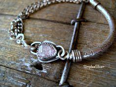 Handmade Jewelry  -  Pink Gemstone Bracelet  -  Sterling Silver Chain Bracelet  -  Rustic Multi Chain Bracelet  -  SimpleeSilver  -  Casual by SimpleeSilver on Etsy