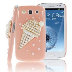 Unique Sparkling 3D Ice Cream Cone Crystal Peach Hard Case for Samsung Galaxy S3 (FREE SHIPPING!) from Cool Mobile Accessories