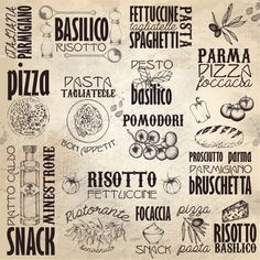 "Kitchen Print -Italy Menu-Italian Subway Art-Pizza-Pasta-Traditional Italian Cuisine- Italy Food-Italian Menu- Print  12 x 12"" No.262"