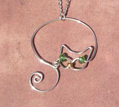 Delicate Silver Wire Cat Pendant Necklace