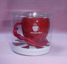 Starbucks Red Abbey II 2004 Mini Coffee Mug Cup Christmas Xmas Holiday Ornament
