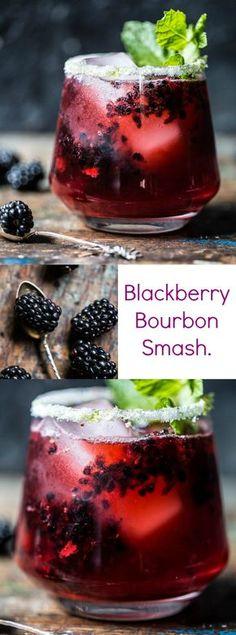 Nadire Atas on Exquisite Cocktails Blackberry bourbon smash autumn cocktail recipe Party Drinks, Cocktail Drinks, Wine Drinks, Bebida Mojito, Yummy Drinks, Yummy Food, Bourbon Smash, Bourbon Drinks, Half Baked Harvest