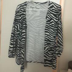 Zebra cardigan Comfortable zebra cardigan some discoloration under the arm Sweaters Cardigans