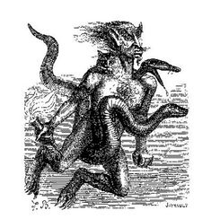 72 Demons:  AINI  The is a strong Duke, appearing in body of a handsome man but with three heads, first one of a snake, second one of a man with two stars on the forehead and the third one of a cat. He rides a snake and carries fire which destroys everything. he reveals private secrets and gives knavery.