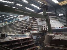 July 12 2014 - Anthem of the Seas' forward cabin block in line with that same area on the Quantum of the Seas in Hall 6 at Meyer Werft.