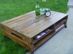 I like the cubbies...  pallet coffee tables | Pallet Coffee Table by SBdesignsstudio on Etsy