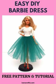 Sewing Barbie Clothes, Barbie Sewing Patterns, Doll Dress Patterns, Pattern Sewing, Clothing Patterns, Free Pattern, Diy Dress, Tulle Dress, Free Barbie