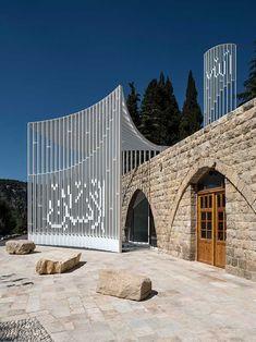 Amir Shakib Arslan Mosque, Mukhtarah Building - e-architect Mosque Architecture, Religious Architecture, Contemporary Architecture, Art And Architecture, Art Arabe, Beautiful Mosques, Glass Facades, Moorish, Islamic Art