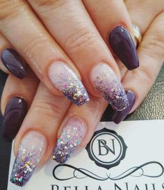Purple Glitter Coffin Nail Design