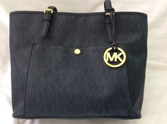 1e4142c11be2 Michael Kors Navy Blue Jet Set Handbag Top Zip Snap Pocket Signature Tote   MichaelKors