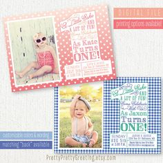 First Birthday Invitation Photo Card - THE BIG ONE - 1st Bday Boy Girl - Printable Party Invite