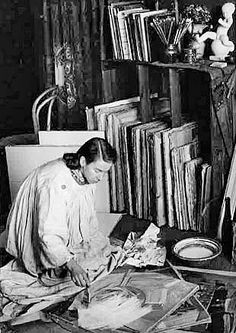 Tove Jansson working in her studio from moomin.com