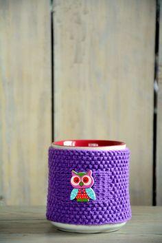 Knitted tea mug cozy, Tea cup cozy with owl button, Lilac Tea cozy, Knitted Mug Cosie , Purple Cotton Mug Warmer, Housewarming gift