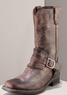 John Varvatos distressed buckled leather boots
