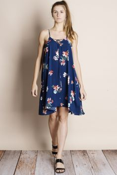 Color of the Sky Floral Mini Dress (navy)