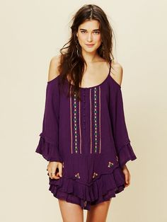 Free People FP ONE Embroidered Flamenco Dress, $128.00  higher color  with longer length.