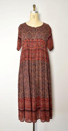 vintage Indian dress // 90s maxi dress