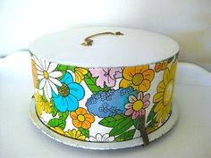Vintage Metal Cake Carrier   Flower Power  by NehiandZotz on Etsy, $35.00