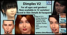The Sims 4 | Sims 4 Nexus Dimples facial details