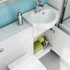 903mm Sabrosa II Pan Quartz Gloss White Combined Suite with Toilet & Basin - soak.com