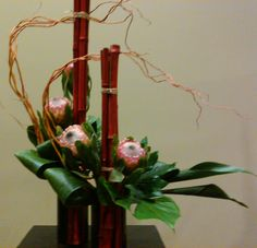 Protea, Bamboo, curly willow, aspidistra Ikebana Arrangements, Ikebana Flower Arrangement, Beautiful Flower Arrangements, Floral Arrangements, Beautiful Flowers, Art Floral, Floral Design, Ikebana Sogetsu, Flower Chart