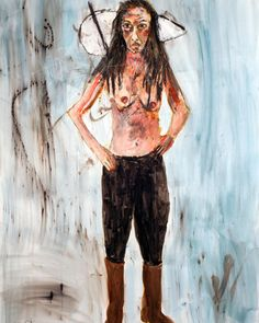 "Shirtless 2015 49"" X 38"" watercolor, crayon and pencil on Stonehenge paper #art…"