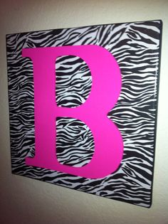 12x12 Black and White Zebra Print Wall Hanging with Wood Letter on Etsy, $20.00