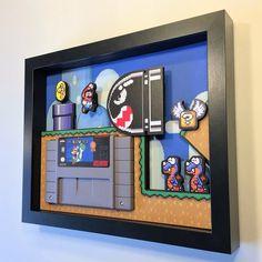 Super Mario World Shadow Box Cartridge Holder – Game Room İdeas 2020 Super Mario World, Mundo Super Mario, Retro Videos, Retro Video Games, Retro Games, Shadow Box, Shadow Video, Deco Gamer, Video Game Rooms