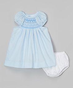 Blue Smocked Dress & Diaper Cover - Infant