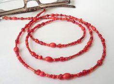 Brillenketten - Brillenkette Materialmix rot - ein Designerstück von soschoen…