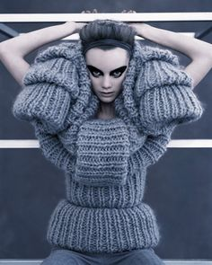 Sandra Backlund Design inspired by Inkblots Vogue Knitting, Knitwear Fashion, Knit Fashion, Grey Fashion, Mohair Sweater, Ugly Sweater, Fluffy Sweater, Tricot D'art, Peau Lainee